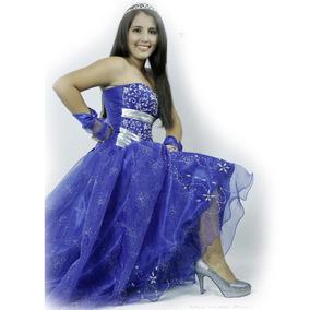 Vestido De 15 Años Azul 2 Faldas Y Corset Chaleco Y Guantes