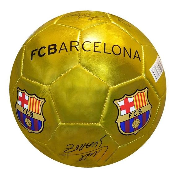 Pelota Nro 5 Futbol Barcelona Dorada Firmas Licencia Sorma