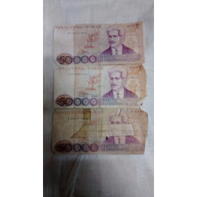 Cédulas Antigas - 3 Notas 50.000 Cruzeiros - Dinheiro Antigo