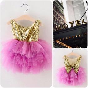 Vestido Tutu Brillante De Niña Niñas Fucsia Dorado Princesa