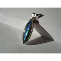 Dije Piedra Labradorita Plata .925 Bello Espectro Y Forma