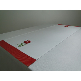 Caminho De Mesa Flower 45x97cm Branco/poá Vermelho C/fuxico