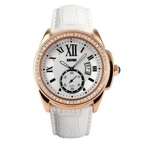 Relógio Feminino Skmei 1147 Analógico Branco Com Nf
