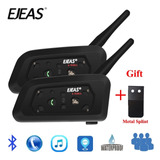 2pz Kit Intercomunicador1200m Bluetooth Motocicleta V6 Pro