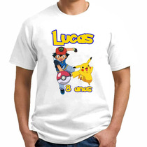 Camiseta Infantil Adulto Personalizada Pokemon Com Nome