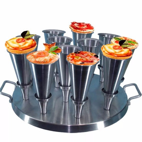 Kit Pizza Cone 12 Formas + Faca Modeladora + Base P/ Assar