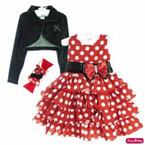Vestido Minnie Vermelha Bola Branca Com Faixa Minie E Bolero