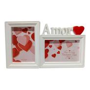 Porta Retrato Duplo Amor Namorados 10x15 Plástico Branco