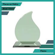 Placas Conmemorativas En Vidrio Forma Flame  Plano