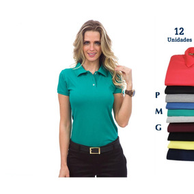 Camisa Polo Feminina Atacado Kit 12 Camisa Direto Da Fábrica