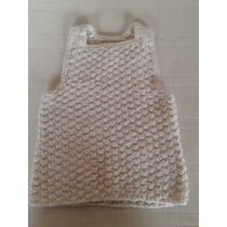Chaleco Sweter Tejido A Mano Blanco Talle 3 Impecable!