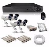 Kit Dvr 8 Canais + 4 Câmeras + Hd 500gb + Fonte 10a + Cabo