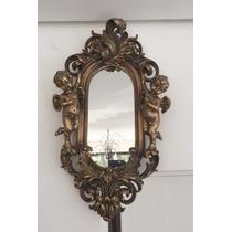 Espelho De Cristal Design Classico Anjos Folhado À Ouro