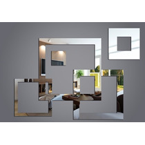 Kit Espelho Decorativo Quadrados Vazados Grande Frete Grátis