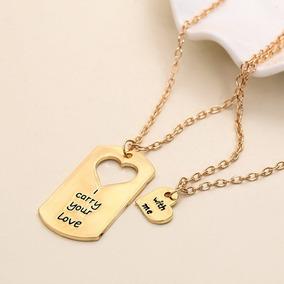 2 Colar Casal - Presente Dia Dos Namorados Amor Love Dourado