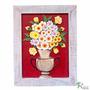 Quadro Vaso De Flores Coloridas Com Fundo Vinho (70x55)cm