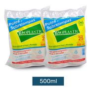Pote Plastico Redondo Descartável Pote + Tampa 500 Ml- 50 U