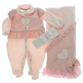 Kit Saida De Maternidade Plush Bebê Menina Paraiso Cod 5729