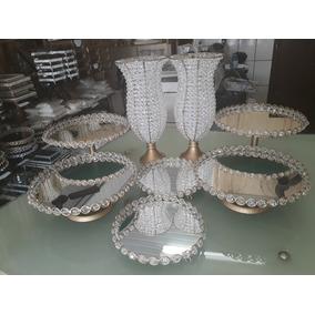 Kit 8 Peças Pedrarias ( 2 Vasos 35cm + 6 Bandejas + Espelhos