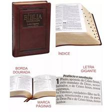 Bíblia Almeida Atualizada Letra Gigante Índice Luxo Marrom