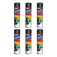 Kit 6 Tinta Spray Preto Brilhante Multiuso Colorgin 360ml