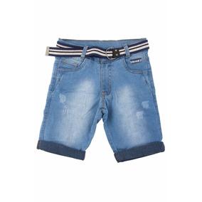 Bermuda Jeans Claro Bebê Meninos Masculina + Cinto Tam 1-2-3