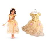 Vestido Princesa Bella Disney Fantasia Lindo Bela E A Fera