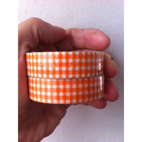 Decotape-washi Tape Tecido-fita Adesiva Xadrez Laranja