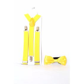 Kit Suspensório + Gravata Borboleta Infantil Pajem Amarelo