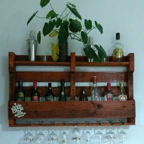 Adega De Madeira Parede Bar Barzinho Suporte Bebidas E Taças