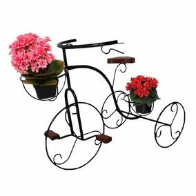 Bicicleta De Jardim Suporte Vasos De Flores Ferro E Madeira