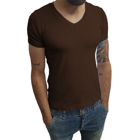 Camisa Masculina Gola V Slim Blusa Manga Curta