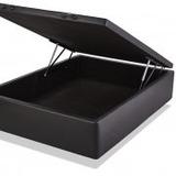 Cama 2 Plazas Box Sommier Baul 140x190 Simil Cuero Negro