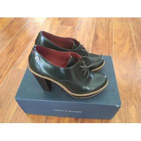 Zapatos Cuero Taco Alto Mujer Verde Oscuro 38 Tommy Hilfiger