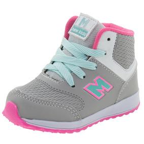 Tênis Infantil Feminino Cano Alto Gelo/pink Minipé - Mp1615