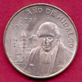 5 Pesos 1953 Plata Moneda De México Bicentenario Hidalgo