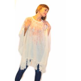 Poncho De Mujer Estampados Pura Lana Merino Pullover