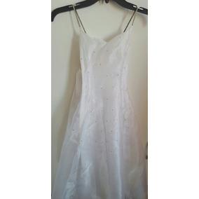 Vestido Blanco C/piedras Al Frente, C/estola, Talla 10