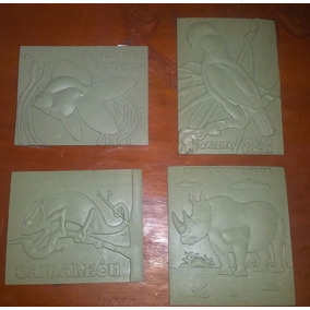 4 Cuadritos Alto Relieve Educativos Para Pintar (animales)