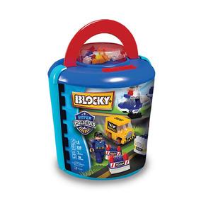 Juguete Blocky 01-0673 Balde Policias 120 Piezas