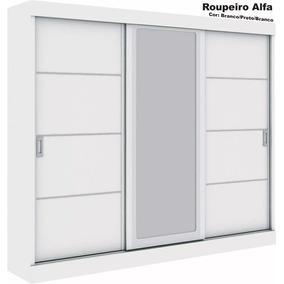 Roupeiro 3 Portas De Correr, 1 Espelho,alfa, Made Marcs