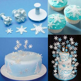 Forma De Copo De Nieve Pastel 3pcs Émbolo Fondant Decoración