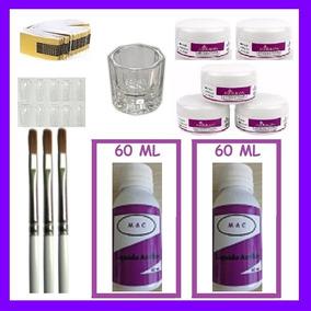 Kit Unha Acrílica Porcelana Pó Monomer Pincel Molde- Ref 129