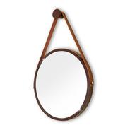 Espelho Adnet Redondo 60cm Marrom Alça+pendurador Reduna