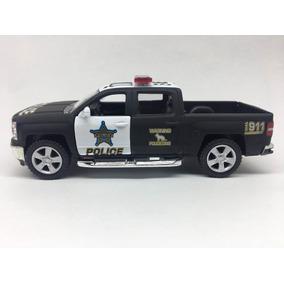 Miniatura De Metal Da Polícia Chevrolet Silverado 2014