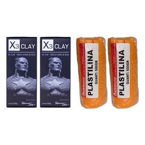 Massa Profissional X3 Oil Clay Medium + Plastilina Laranja