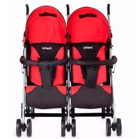 Coche Mellizo Mb109 Twin Infanti 4 Posiciones Rojo Evotech