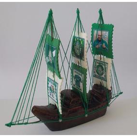 Barco Miniatura Decorativo Time Palmeiras Peça Exclusiva