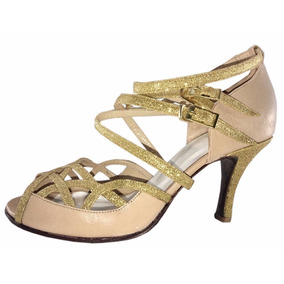 Zapatos De Tango Salsa Rock Jaz Fiesta Baile Cuero Nude Flex