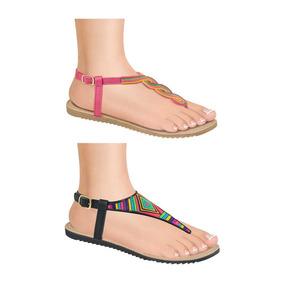 Sandalia Baja Pink Kit2 Color Negro/rosa Sintetico Sn238 A